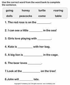 Choose Correct Word to Complete the Sentence Worksheet