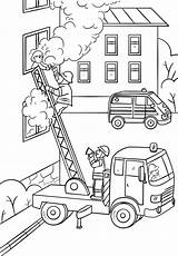 Coloring Fire Fireman Truck Climbing Pages Firefighter Ladder Fighter Drawing Save Printable Saving Child Colouring Sheets Activity Firetruck Books Department sketch template
