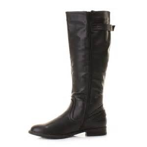 womens wide calf boots size 11 womens black stretch leather look wide calf fit flat boots size ebay