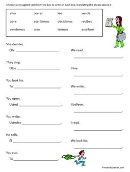 spanish regular verbs worksheets by fran lafferty tpt