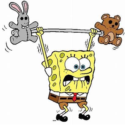 Spongebob Clipart Squarepants Animated Lifting Weight Cartoons