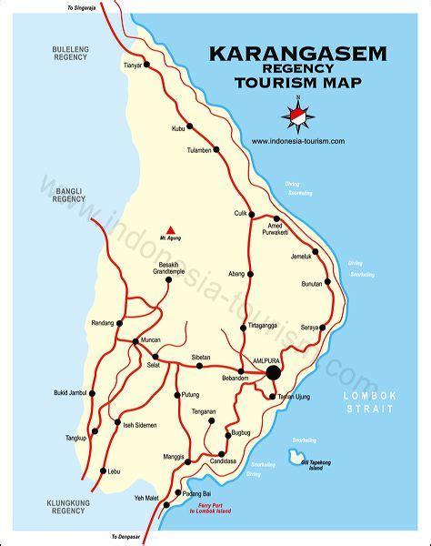karangasem city bali map bali island indonesia tourism