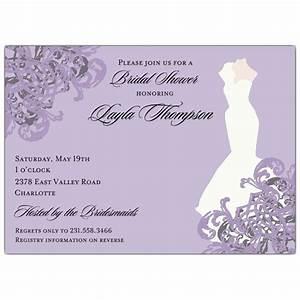 elegant gown lilac bridal shower invitations paperstyle With elegant wedding shower invitations