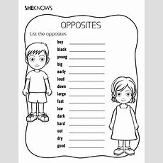 Printable Games & Activities List The Opposites