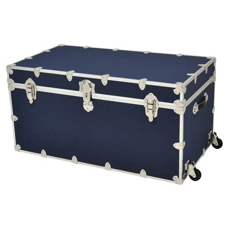 storage chest trunk shop rhino trunk and 69 gallon navy blue wheeled wood 2549