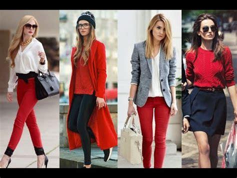 #Outfits Ideas | Cu00f3mo combinar una prenda de color rojo - casual emdesign - YouTube