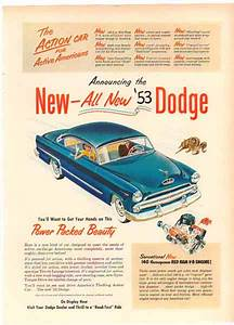 Bamboo Trading: Dodge 1953 Car Ad - 140 Horsepower Red Ram