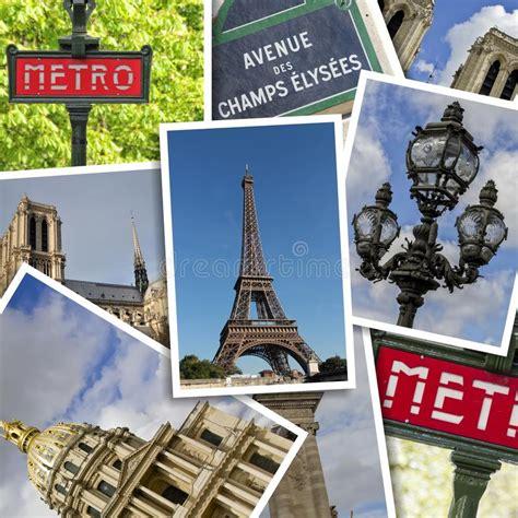 eiffel tower polaroid postcard collage stock photo