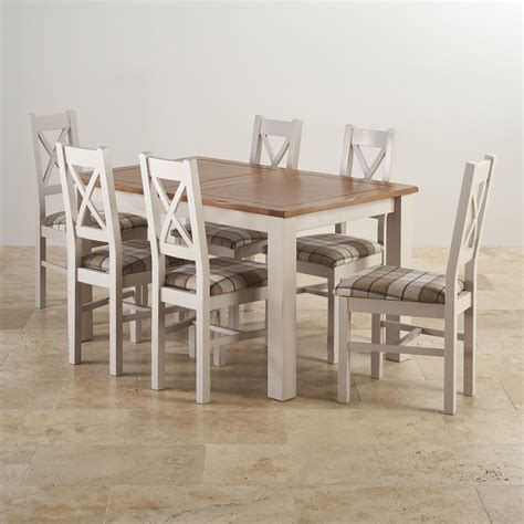 solid oak table and chairs rustic solid oak and painted dining set with six chairs