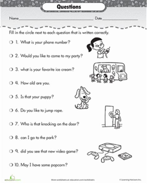 correct the sentences questions punctuation worksheets