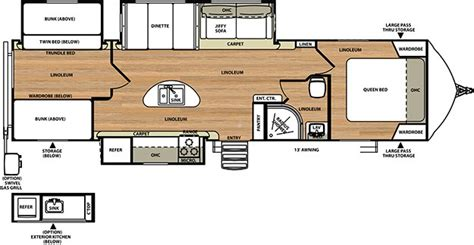travel trailer floor plans with outdoor kitchen 2015 forest river vibe 312bhs slide bunk house