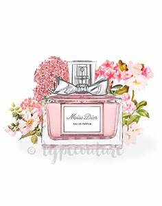 Watercolor Miss Dior perfume bottle art Miss Dior by