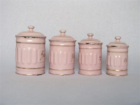 Pink Kitchen Canisters by Pink Enamel Graniteware Kitchen Canisters