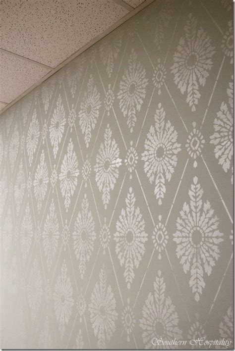 diamond damask stencil   stencil  wall southern