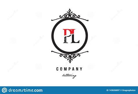 pl p  red white black decorative monogram alphabet letter logo combination icon design stock