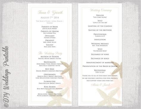 beach wedding program template starfish wedding