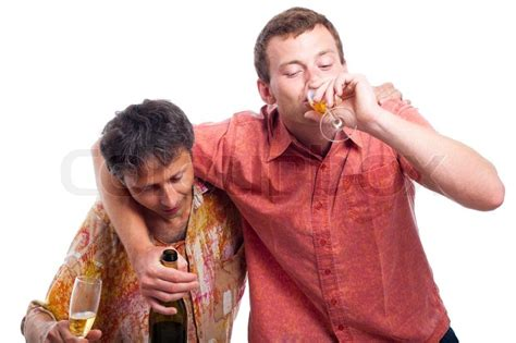 Two Drunken Men Drinking Alcohol, Isolated On White