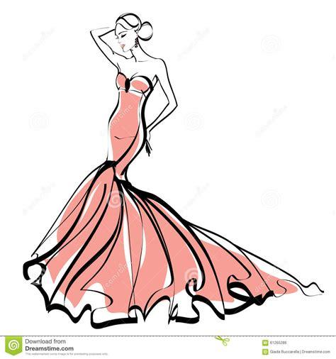 fashion illustration sketch elegant lady stock