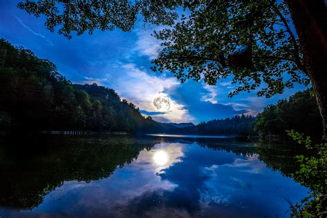 Wallpaper Full Moon, Reflections, Lake, Forest, 4K, Nature