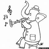 Clarinet Elephant Coloring Playing Pages Thecolor Results sketch template