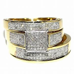His her band diamond wedding trio bridal engagement ring for Ebay diamond wedding ring sets