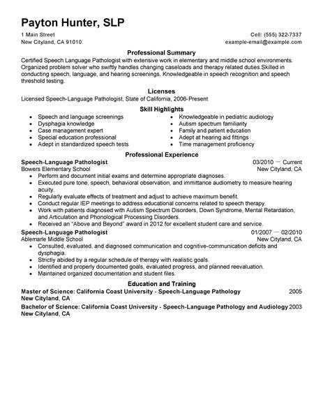 speech language pathologist resume exles healthcare