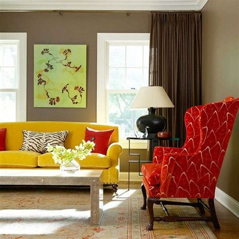 dramatic dark walls red accent chair living rooms and