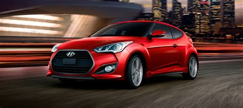 Exterior Shot Of Red Hyundai Veloster Turbo 2016 Wide