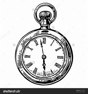 Pocket Watch Line Drawing Antique Pocket Watch Vector ...