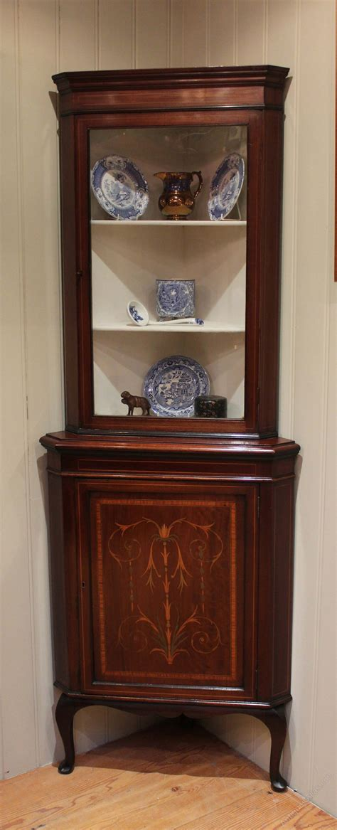 mahogany corner display cabinet inlaid mahogany corner display cabinet antiques atlas 7319