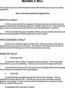 ontario last will and testament form download free With ontario will template