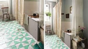 sol peinture motifs graphiques parquet salle de bains With peinture sol parquet