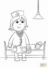 Doctor Coloring Sheet Printable Clipart Template Paper Drawing Professions Patient sketch template