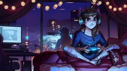 Overwatch Anime Playing Games Kawaii Wall Va