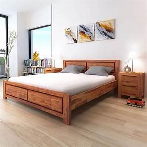 Lit En Bois : la boutique en ligne vidaxl cadre de lit bois d 39 acacia ~ Melissatoandfro.com Idées de Décoration