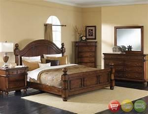Augusta traditional walnut finish bedroom furniture set for Walnut bedroom furniture