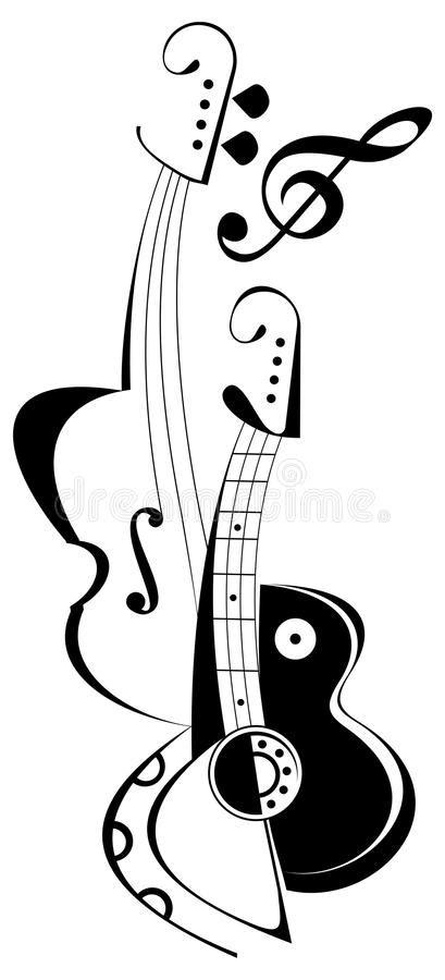 Guitar and violin - tattoo stock vector. Image of viola - 10440824