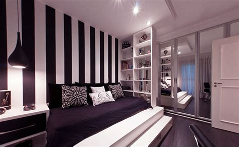 black and white striped wall dazziling bedrooms with striped walls