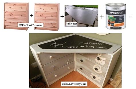 Diy Corner Desk Ikea by Two Ikea Rast Dressers A Chalkboard Paint Corner Desk