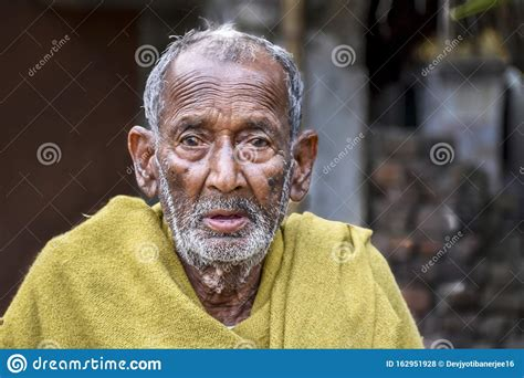 A Poor Indigenous Old Man Of India Looks At The Camera ...