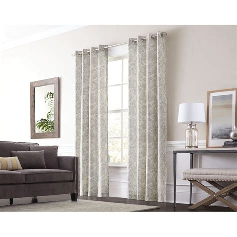 allen roth oberlin curtains shop allen roth lapeer 84 in graphite cotton grommet
