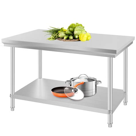 stainless steel work table with two shelves industrial commercial stainless steel kitchen food prep
