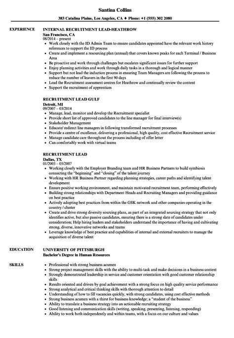 Recruiting Resume by Recruitment Lead Resume Sles Velvet