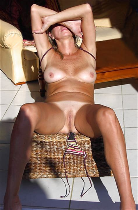 French Milf Tanning Naked At Home Pov