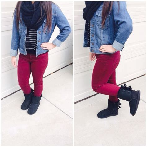 Black scarf u0026 jean jacket from Nordstromu0026#39;s striped top from Brandy Melville maroon velvet pants ...