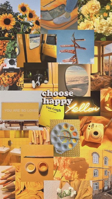 aesthetic wallpapers yellow collage photo