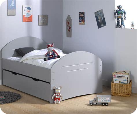 lit enfant 201 volutif spoom gris tiksy avec tiroir de lit et matelas