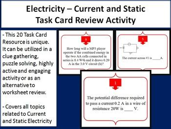 Electricity  Current And Static Task Card Review Game