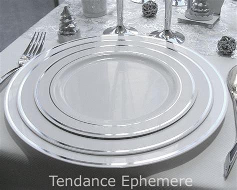 assiette blanche liser argent 19cm vaisselle jetable design pas cher