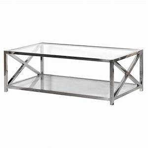 modern large polished steel and glass top rectangular With glass and metal rectangular coffee table